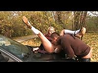 Publiczny seks na masce samochodu