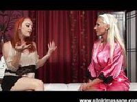 Sexy lesbian dildo massage